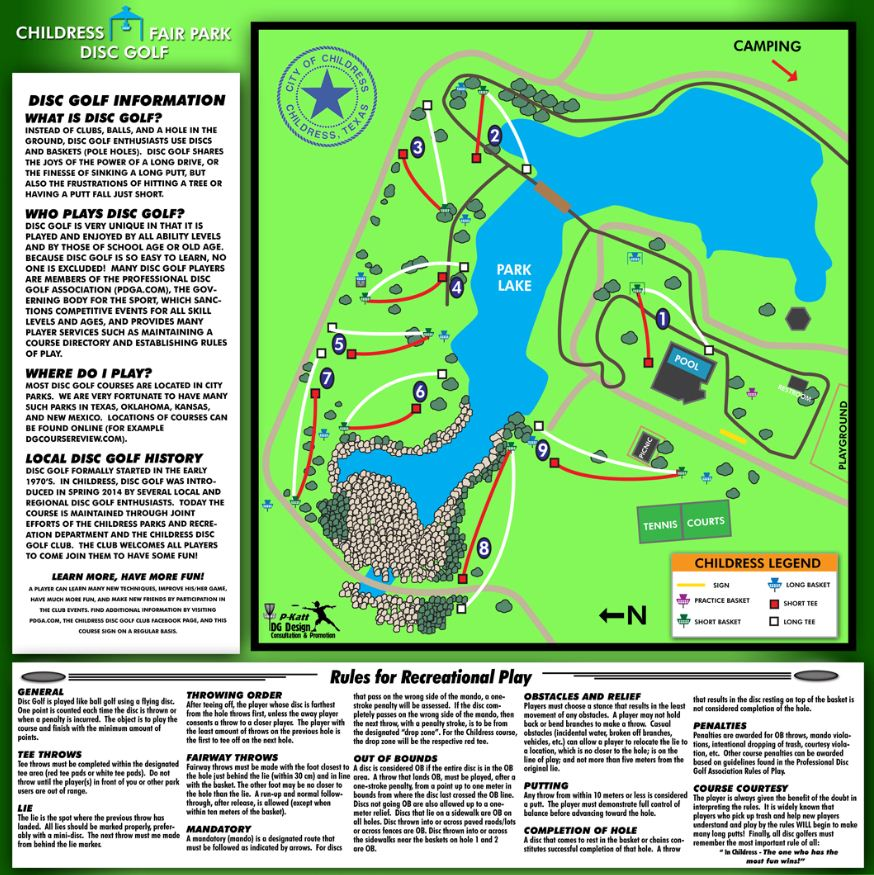 Fair Park in Childress, TX - Disc Golf Course Review Childress Texas Map on